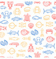 sea food thin line seamless pattern background vector image