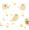seamless pattern with cute swimming otters vector image vector image