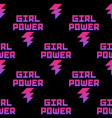 seamless pattern with girl power inscription vector image