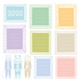 set cute doodle borders isolated on white vector image