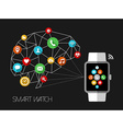 Smart watch design concept with app icons vector image