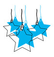 stars set pendant of threads in blue watercolor vector image