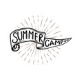 summer camp emblem hand drawn flag with lettering vector image vector image