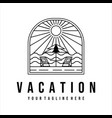 vacation on beach logo line art template
