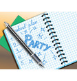 weekend plan drawing in notebooke vector image vector image