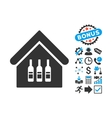 Wine Bar Flat Icon with Bonus vector image vector image