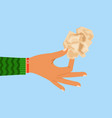 woman hand holding crumpled paper sheet vector image vector image