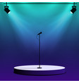 microphone on round stage scene spotlights with vector image
