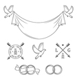 Set of vintage wedding invitation design elements vector image