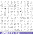 100 archeology icons set outline style vector image vector image