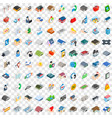 100 real estate icons set isometric 3d style vector image vector image