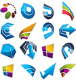 3d abstract icons set simple corporate graphic vector image