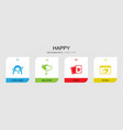 4 happy filled icons set isolated on infographic vector image vector image