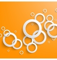 Abstract white paper circles on bright orange vector image