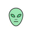 alien head flat color line icon vector image
