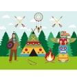american indian landscape warrior wigwam vector image