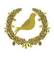 arch of leaves with pigeon with olive branch vector image