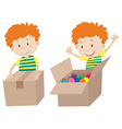 Boy with box sealed and opened vector image