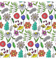 bright doodle floral pattern with colorful flowers vector image vector image