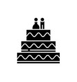 cake for lovers black icon sign on vector image