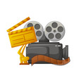 camera with bobbin and award for best film vector image vector image