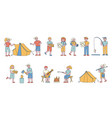 campers travelers flat line people character vector image