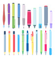 cartoon pens and pencils writing pen drawing vector image