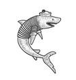 cartoon shark sailor sketch vector image