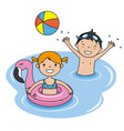 children bathing on the beach vector image
