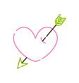color line heart symbol of love with arrow style vector image