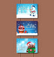 cute merry christmas posters set with santa elf vector image