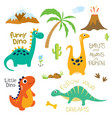 dinosaur footprint volcano palm tree and other vector image vector image