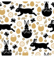easter pattern seamless with rabbits vector image vector image