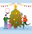 family with gifts and tree merry christmas happy vector image