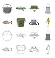 fish and fishing logo set vector image