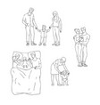 flat adult couple daughter kid hugging set vector image