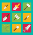 flat game icons set medieval weapons vector image
