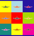 flying plane sign front view pop-art vector image vector image