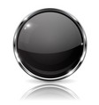 glass black button round 3d button with metal vector image vector image
