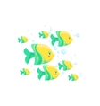 Green And Yellow Fantastic Tropical Fish School vector image vector image