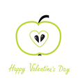 Green apple with heart shape Happy Valentines Day vector image vector image