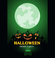 happy halloween night party pumpkin green moon vector image