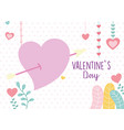 happy valentines day heart pierced arrow hearts vector image