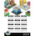 isometric cityscape 2019 year calendar poster vector image vector image