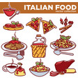 italian food pizza pasta meat and dessert drink vector image vector image