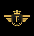 letter f initial wing with shield and crown vector image vector image