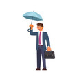 man holding umbrella under the rain vector image vector image