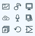 media icons line style set with musical note vector image vector image