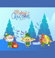 merry christmas greeting card with happy elves vector image vector image