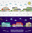 Neighborhood with homes white and purple vector image vector image